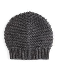 Brunello Cucinelli | Gray Knit Paillettes Beanie Hat | Lyst