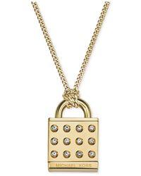 Michael Kors | Metallic Gold-Tone Clear Astor Padlock Pendant Necklace | Lyst