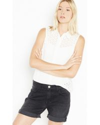 Equipment - White Colleen With Contrast - Lyst
