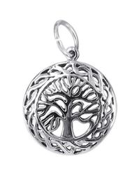 Aeravida | Metallic Celtic Framed Tree Of Life .925 Sterling Silver Pendant/charm | Lyst
