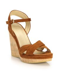 Stuart Weitzman - Brown Minky Suede Cork Wedge Sandals - Lyst