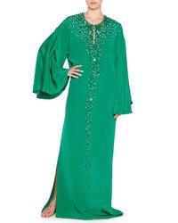 Emilio Pucci - Green Embellished Silk Cady Caftan - Lyst