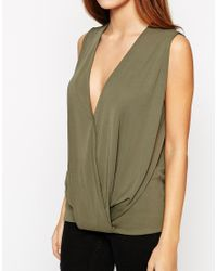 ASOS - Natural Sleeveless Top With Wrap Front In Crepe - Lyst
