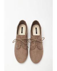 Forever 21 - Gray Faux Suede Oxfords - Lyst