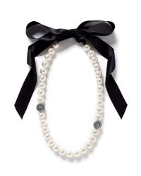 Lanvin | White Pearl Strand Satin Ribbon Necklace | Lyst