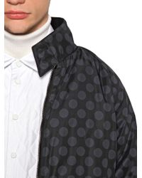Andrea Pompilio Blue Polka Dot Printed Nylon Bomber Jacket for men