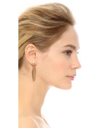 Rebecca Minkoff | Metallic Safari Haze Large Leaf Earrings - Gold/crystal | Lyst