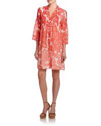 Diane von Furstenberg Orange Layla Printed Silk Dress