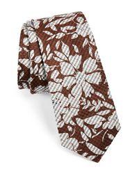 W.r.k. - Brown Floral Silk & Cotton Tie for Men - Lyst