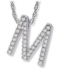 Amanda Rose Collection - Diamond Initial M Pendant Set In 14k White Gold - Lyst
