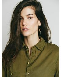 Free People | Green X Cp Shades Womens Rolled Sleeve Henley | Lyst