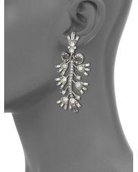Oscar de la Renta | Metallic Floral Crystal Clip-on Drop Earrings | Lyst