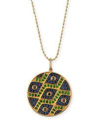 Sydney Evan Multicolor Multi-eye Black Diamond & Sapphire Medallion Necklace