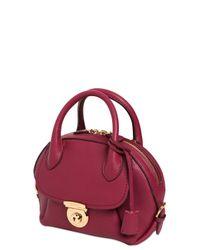 Ferragamo Purple Small Fiamma Grained Leather Bag