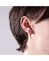 Edge Only - Metallic 3d Pointed Lightning Bolt Earrings Gold - Lyst