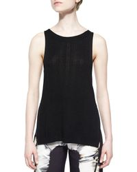 Halston - Black Sleeveless Sweater Tank W/ Slits - Lyst