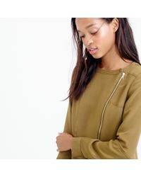J.Crew - Green Collection Luxe Silk Moto Top - Lyst