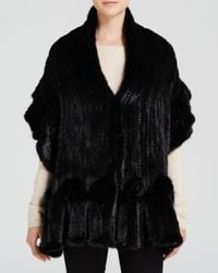 Maximilian | Black Mink Fur Knit Scarf With Ruffle And Rosette Trim | Lyst