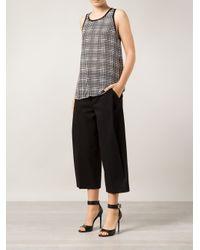 L'Agence Black Printed Silk Top