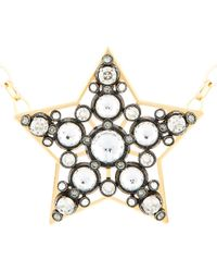 Lanvin Metallic Brass and Crystal Big Star Necklace