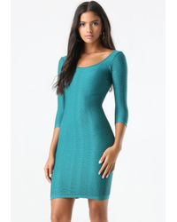 Bebe Blue Textured Bodycon Dress