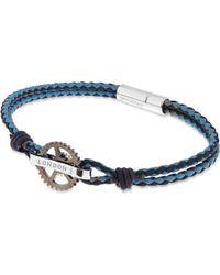 Tateossian Blue Pop Gear Leather Bracelet - For Men