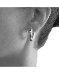 Kinnari - Metallic Silver Small Crown Hoop Earrings With Onyx - Lyst