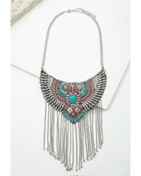 Forever 21 | Metallic Fringed Beaded Bib Necklace | Lyst
