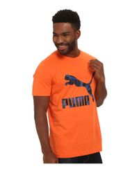 PUMA | Orange Archive Logo Tee for Men | Lyst