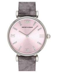 Emporio Armani - Gray Crystal Accent Lizard Strap Watch - Lyst