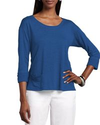 Eileen Fisher - Blue Linen Jersey Top - Lyst