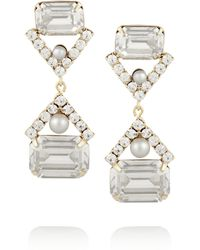 Elizabeth Cole | Metallic Gold-tone Swarovski Crystal Earrings | Lyst
