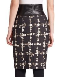Akris Punto - Black Faux-leather Detail Printed Skirt - Lyst