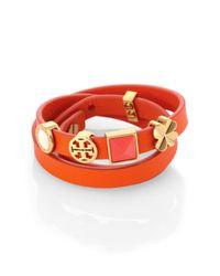 Tory Burch - Brown Saffiano Leather Charm Triplewrap Bracelet - Lyst