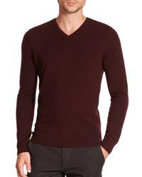 Vince - Purple Cashmere V-neck Sweater for Men - Lyst