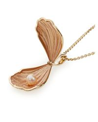 Alison Lou | Metallic Pearl & Yellow-gold Oyster Necklace | Lyst
