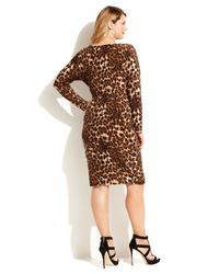 INC International Concepts Brown Plus Size Chain-Trim Animal-Print Sheath Dress