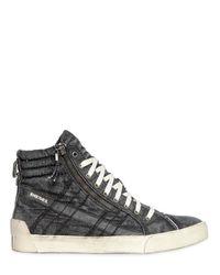 DIESEL Black Denim High Top Sneakers