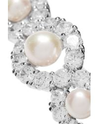 Kenneth Jay Lane - Metallic Silver-tone Crystal And Faux Pearl Bracelet - Lyst