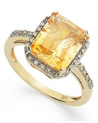 Macy's Metallic Emerald-Cut Citrine And Diamond Ring In 10K Gold (2-5/8 Ct. T.W.)