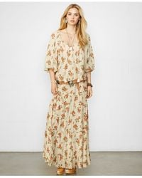 Denim & Supply Ralph Lauren Orange Puff-Sleeve Floral-Print Tunic