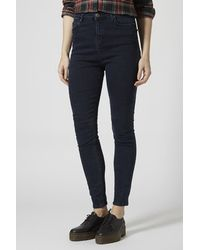 TOPSHOP Tall Moto Blue Black Jamie Jeans