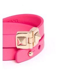Valentino | Pink Rockstud Double Wrap Hinge Leather Bracelet | Lyst