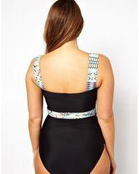 ASOS | Black Exclusive Swimsuit with Contrast Aztec Print | Lyst