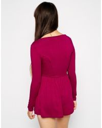 ASOS - Blue Romper With Long Sleeves And Sweetheart Neckline - Lyst