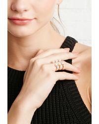 Forever 21 - Metallic Faux Pearl Open-ended Ring - Lyst