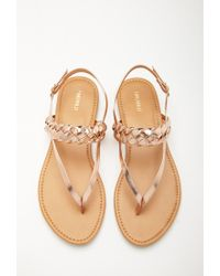 Forever 21 Pink Metallic Faux Leather Slingback Sandals