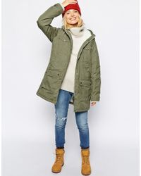 355fcabf599a Fjallraven Hooded Parka Coat With Shearling Lining in Green - Lyst