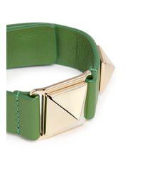 Valentino - Green 'rockstud' Macro Leather Bracelet - Lyst