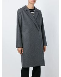 Erika Cavallini Semi Couture | Gray Notched Lapel Coat | Lyst